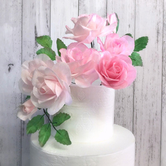EDIBLE WAFER PAPER - Set of Roses with leaves
