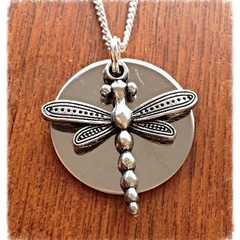 Silver on silver dragonfly Necklace.