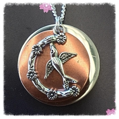Two toned Copper and silver Bird Necklace.
