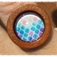 Timber and glass brass Ring