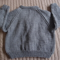 SIZE 3-4 :Hand knitted cardigan in grey: Unisex, washable