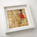 "Red Shoe Girls (Lucy) - FRAMED art print 9""x9"" white square frame"