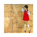 "Red Shoe Girls (Lucy) - FRAMED art print 9""x9"" white square frame"