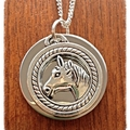Silver on silver Horse Necklace.