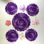 Hand Crocheted Shades of Purple Cotton Doily and Four Coasters