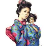 Sun Mei and Little Tsan ~ A3 Illustration Giclee Print | Oriental Wall Art