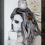 """""""Vunerability"""" Girl and  a Bird - 29cm (W) x 42cm (H) A3"""