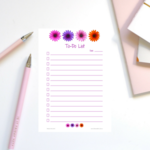 4 Daisies A5 To-Do List -  Printable Instant Download Graphic