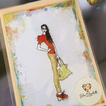 Lazy Sunday  - Art Greeting Card Fashion Illustration | Blank | Hand Embellished