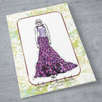 Peony - Art Greeting Card Fashion Illustration | Blank inside | Hand Embellished