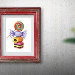 Sweets ~ A3 Fine Art Giclee Print | Quirky Nursery Decor | Home Decor Wall Art