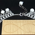 Snow Drops Beaded Necklace Winter White Grey