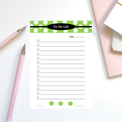 Lime Green Dots A5 To-Do List -  Printable Instant Download Graphic