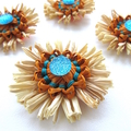 Blossom Ornament Natural Raffia Paper Floral Embellishment Set of 6