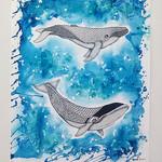 """Dreamtime Whales 2"" - Original Wall Art 40cm x 50cm"