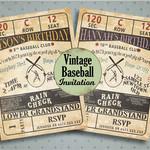 Vintage Baseball Ticket Invitation, Baseball Baby Shower Invitiaton