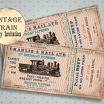 Steam Train Birthday Party Invitation, Train Birthday For Boy, Kids Train Party