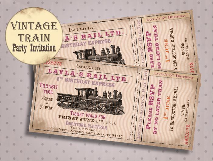 Train Birthday Invitation For Girl Theme Party Idea Steam