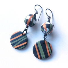 Lines black gold green drop polymer clay earrings by sasha and max