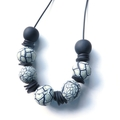 Pale Mint, Black and white crackle polymer chunky statement necklace