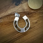 Sterling Silver Horse Shoe Pendant inlaid with Horse Hair Braid