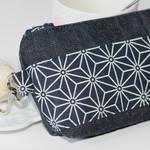 Zippered pouch, make-up bag, bag organiser Navy denim and geometric pattern.