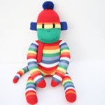 'Wesley' the Sock Monkey - candy striped rainbow - *READY TO POST*