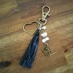 Bronzed Horse Hair Keyring / Bag clip with Rose Quartz
