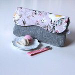 Clutch bag, nappy wallet in Dusky pink floral sateen and grey fabric. OOAK