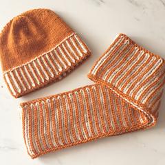 Teen , Adult, Cowl & Hat Set, FREE POST , Hand-Knit, Wool,  Gold Mustard & Cream