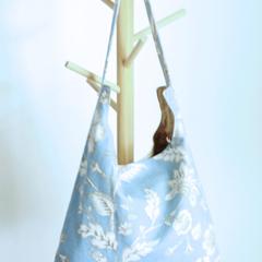 Shoulder bag, day bag in duck egg blue floral linen fabric