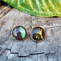 Sunset Moth REAL insect wing, silver leverback earrings