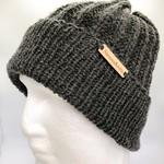 100% Wool Handmade Dark Grey Knitted Beanie
