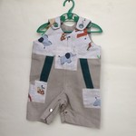 Overalls Romper Onesie for Baby Boy with patches Elephant in beige