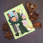 Five Owls in a Tree 'Lots of Love' Green Floral Card