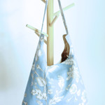 Shoulder bag, day bag in duck egg blue floral linen fabric