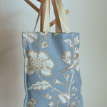 Tote bag in a duck egg blue linen fabric