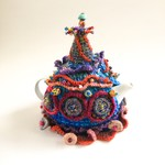 Unique embellished tea cosy. Crochet. ColourfulBeads. Embroidery. One of a kind.