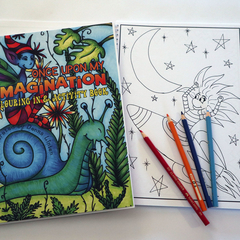 Once Upon My Imagination - colouring in & activity book - kids pixie monster