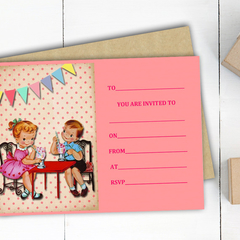 Vintage Inspired Birthday Invitations