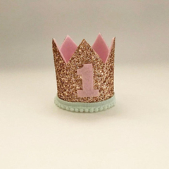 Rose Gold Glitter Crown | Birthday Crown | Child Headband | Crown Headband | Fir