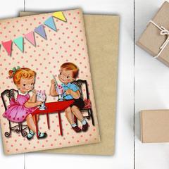 Vintage Kids Birthday Card