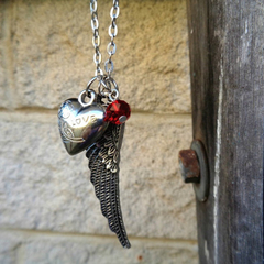 Vintage Heart + Antique Silver Angel Wing + Red Crystal Necklace,July Birthstone