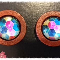 Timber and glass earrings / studs