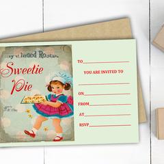 """""""Sweetie Pie"""" Birthday Invitations"""