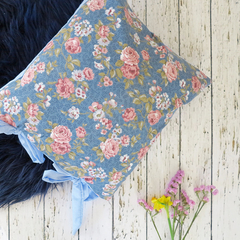 Shabby chic cushion blue and pink floral powder blue and white polka dot backing