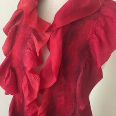 red nuno felted silk merino scarf
