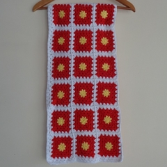 crochet baby blanket, baby shower gift, yellow red white, keepsake, travel rug