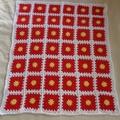 crochet baby blanket, baby shower gift, yellow red white, keepsake, travel rug