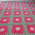 crochet baby blanket, baby shower gift, pink lemon lime, keepsake, travel rug